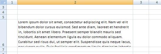 Felaktig automatisk justering av radhöjd i Excel 2007.