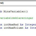 Exempel på en variabeldeklarering i Excel VBA.